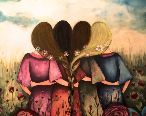 The four sisters best friendsbridesmaids present  art print
