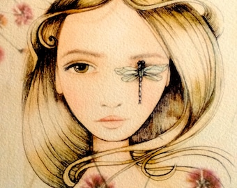 woman with dragonfly  art print