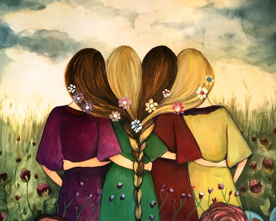 Four sisters best friendsbridesmaids present  art print