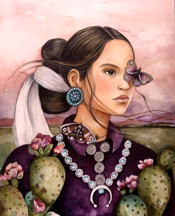 female empowerment,art print ,drawing, love, portrait artwork ,claudia tremblay Navajo inspired woman