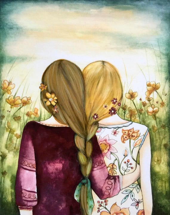 Siblings gift, Art print sisters best friends  gift idea  with 2  blonde  hair intertwined braids