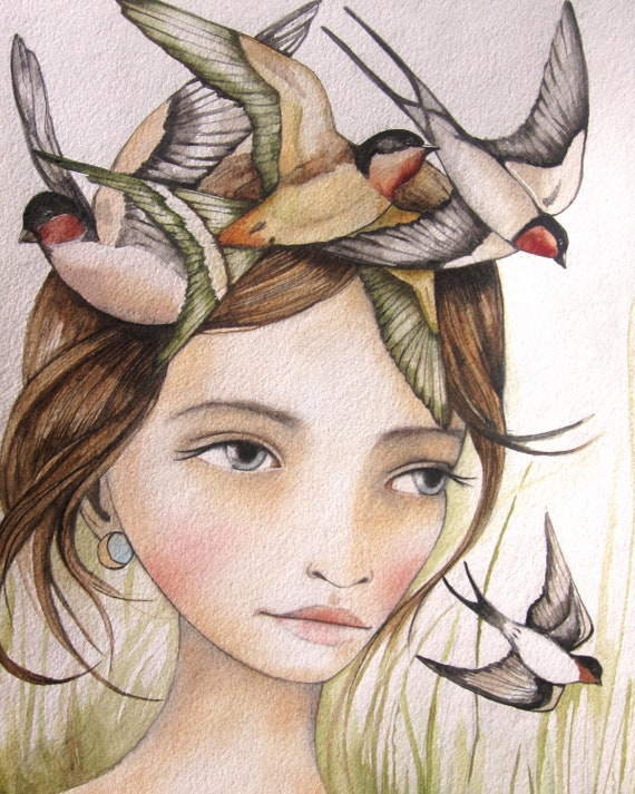She liked swallows art print 9 x11 inches