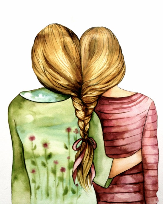 Siblings gift, Two  sisters best friends  with blonde hair art print