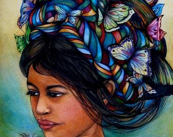 Woman with butterflies, Art print, Guatemalan Portrait