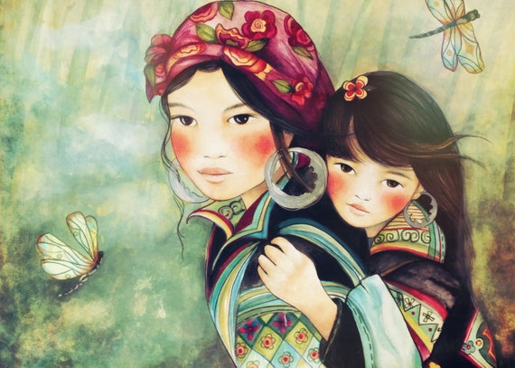 gift for mom, wall art decor, love, artwork, gift for  daughter, mother and daughter from Vietnam Hmong people   art print 8 x 10  inches