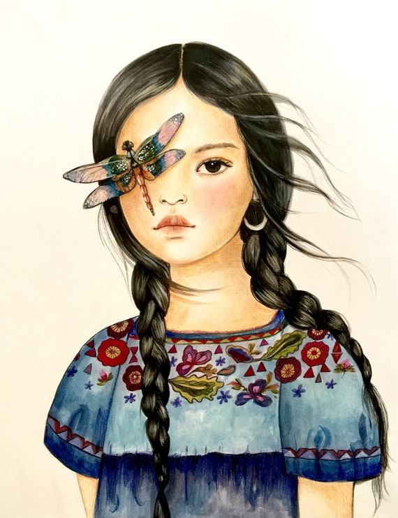 female empowerment, art print ,woman artwork,  portrait artwork ,claudia tremblay Dragonfly spirit animal