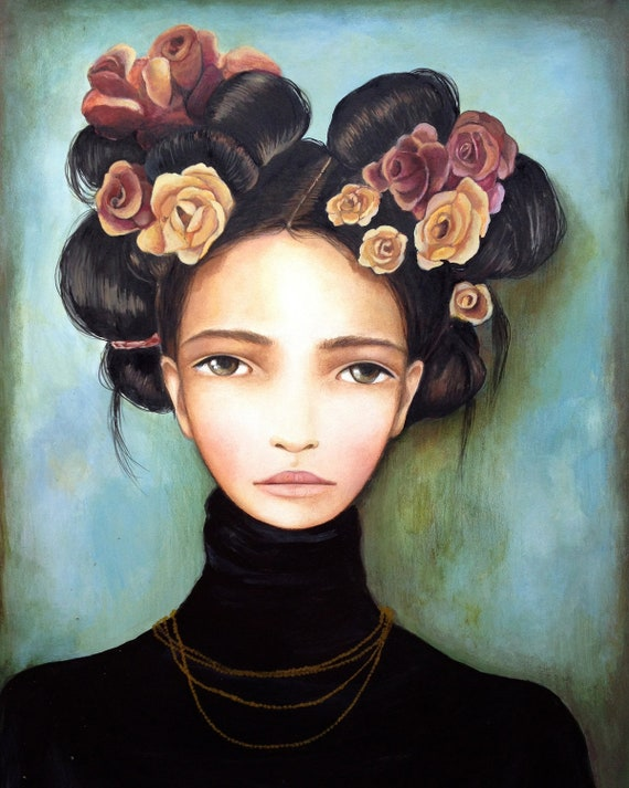 female empowerment,art print ,drawing, love, portrait artwork ,claudia tremblay Roses and Rosa art print