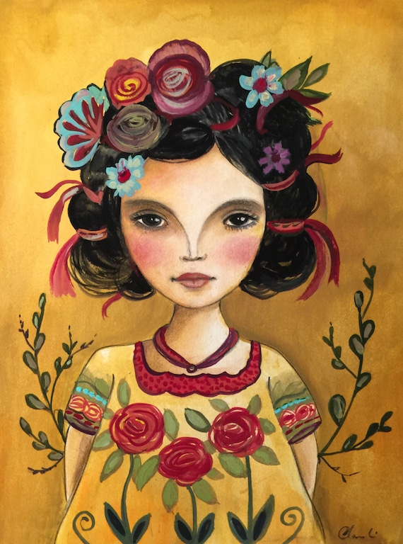 Latin doll frida  inspired art print