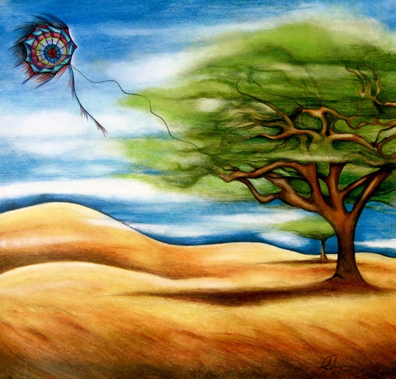 The tree and kite art  print by Claudia Tremblay