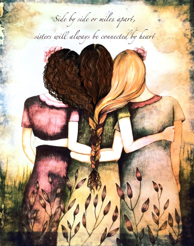 Side By Side Or Miles Apart Sisters Will Always Be Connected Etsy