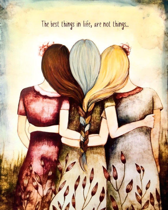 Three sisters/ mother daughters  art print
