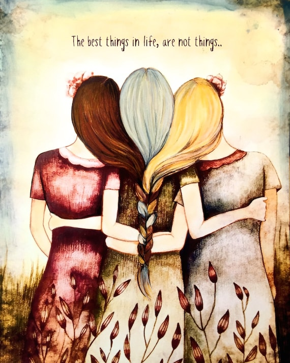 gift for mom, wall art decor, love, artwork, gift for  daughter, Three sisters/ mother daughters  art print