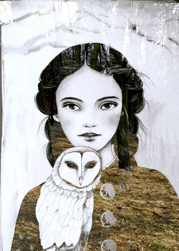 female empowerment,art print ,drawing, love, portrait artwork ,claudia tremblay Maëlla and the owl art print