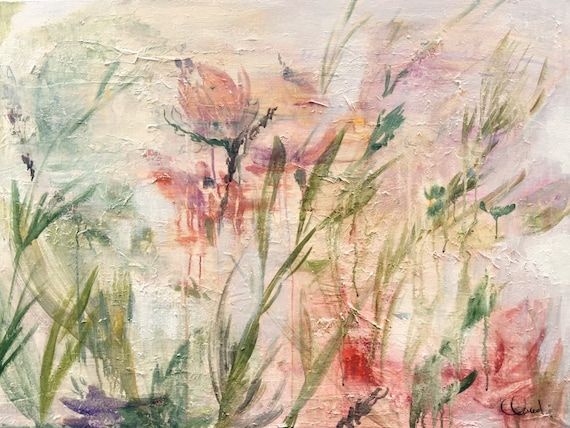Abstract  flowers in a field painting