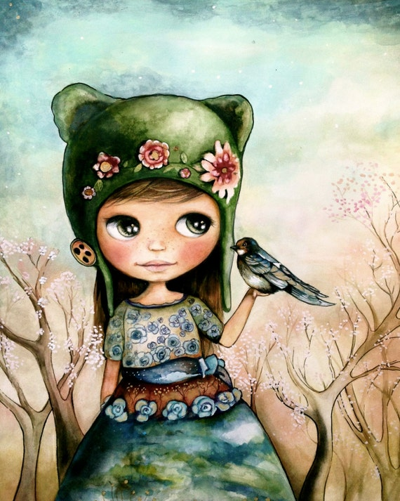doll art print with bird