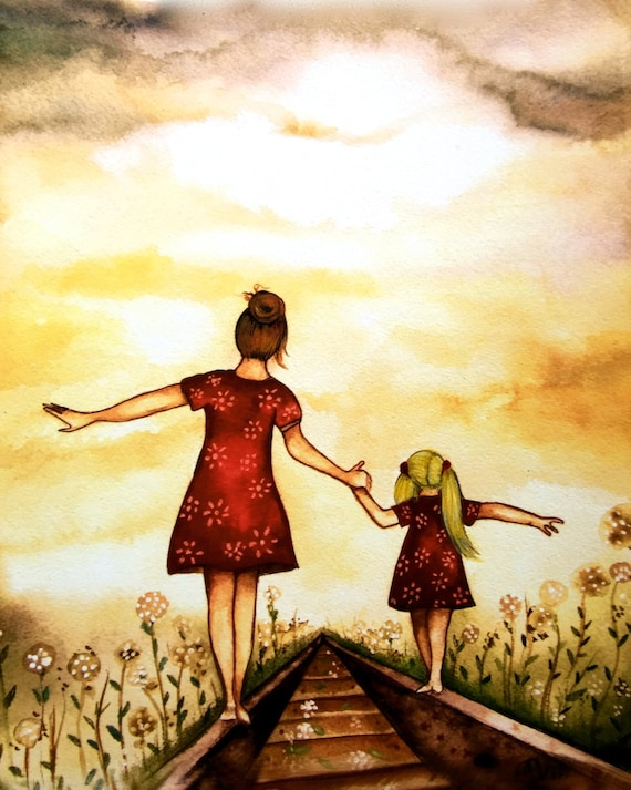 "gift for mom, wall art decor, love, artwork, gift for  daughter, Brownish hairMother and Blonde daughter ""our path"" art print"