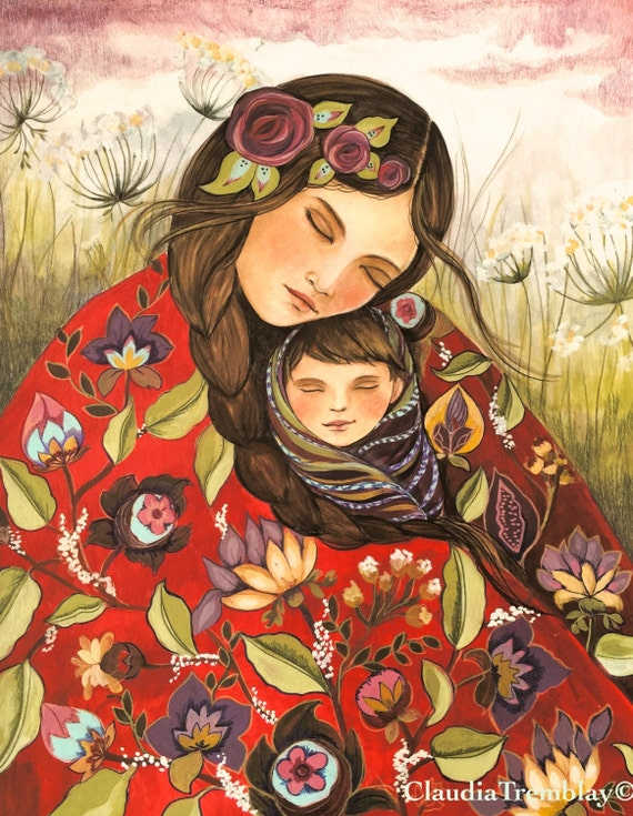 Mother and child in red quilt  art print on CANVAS