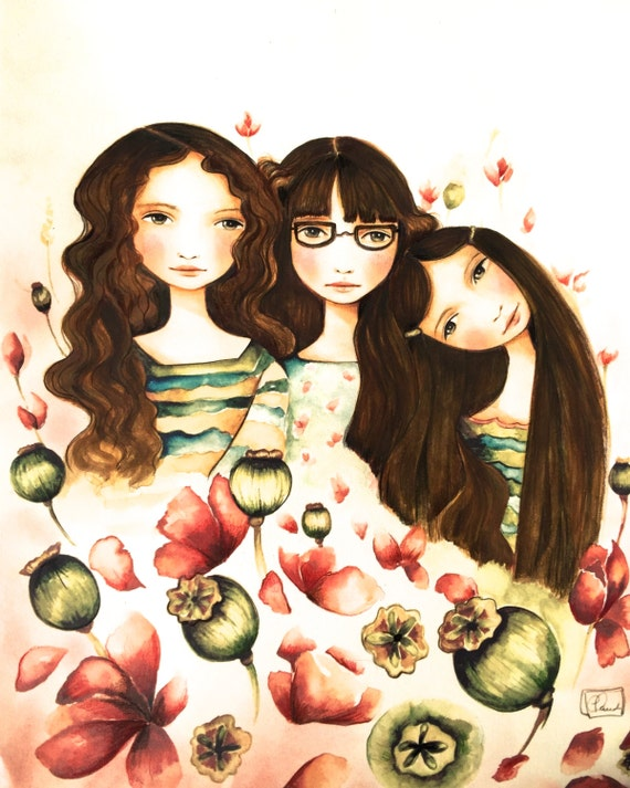 The 3 sisters art print with glasses and brown hair