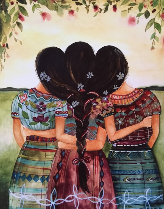 Siblings gift, sister gift to sister, gift for friend, intertwined hair, braided hair ,wall art gift for sister Guatemalan sisters art print