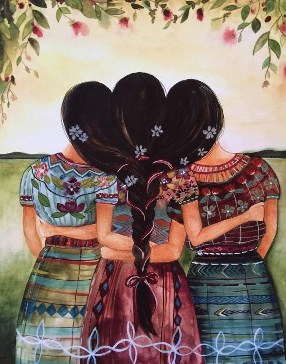Guatemalan sisters art print