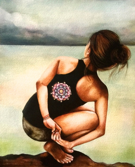 yoga art print by Claudia Tremblay water color
