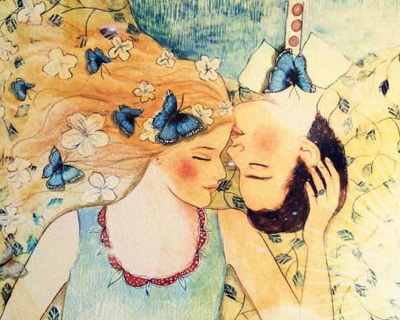 Lovers dreaming with blue butterflies