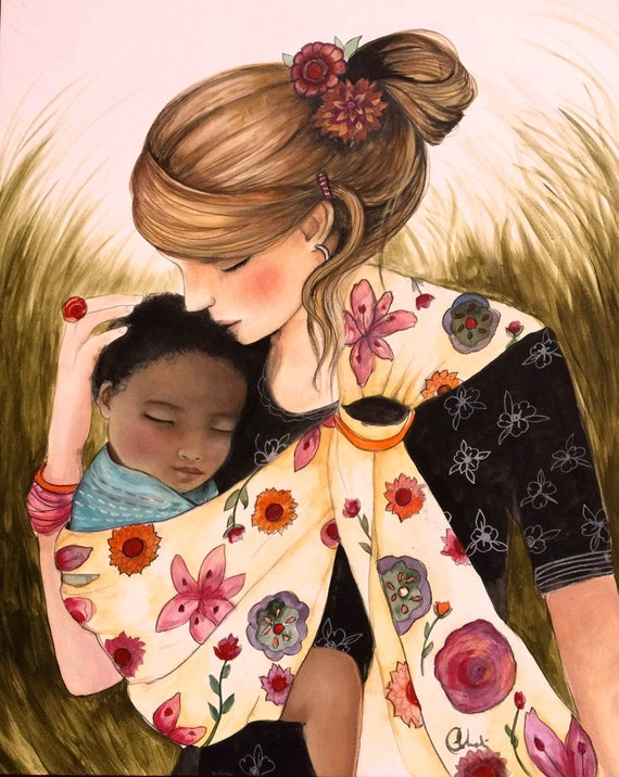 mother and baby adoption, interracial child