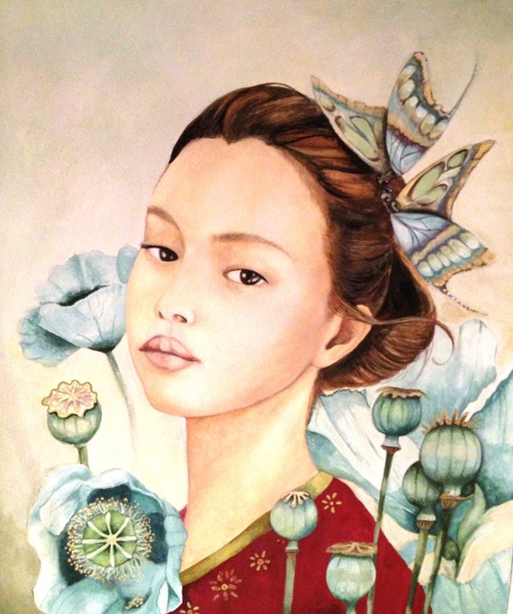 Sayuri and the poppies art print