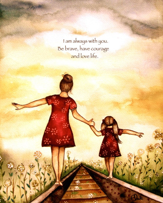 "gift for mom, wall art decor, love, artwork, gift for  daughter, Mother and daughter ""our path"" art print, gift idea mother's day"