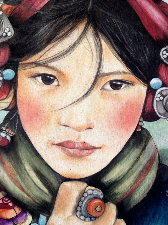 female empowerment,art print ,drawing, love, portrait artwork ,claudia tremblay Woman from Tibet