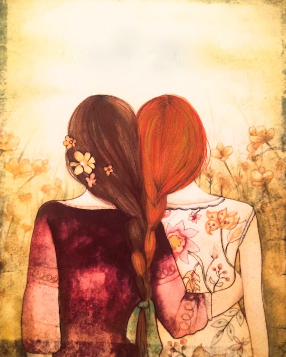 Siblings gift, sister gift to sister, gift for friend, intertwined hair, braided hair ,wall art gift for sister brown  and red hair sisters