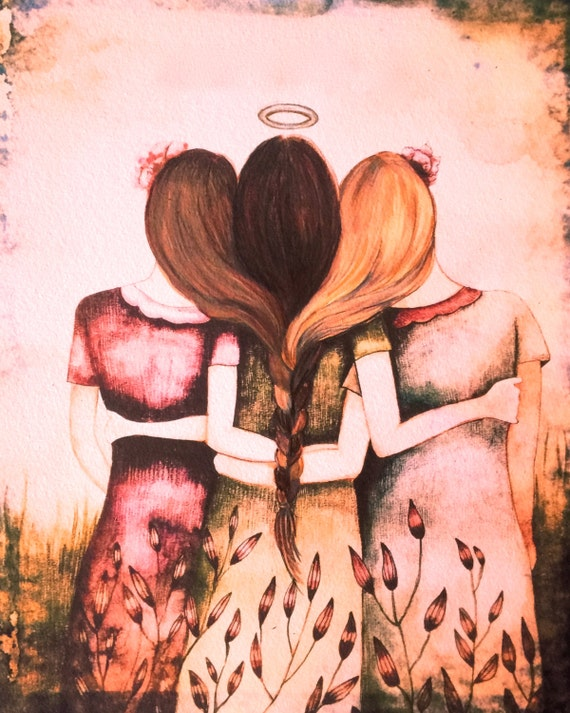 Siblings gift, Our Angel three sisters  best friend pink vintage  art print