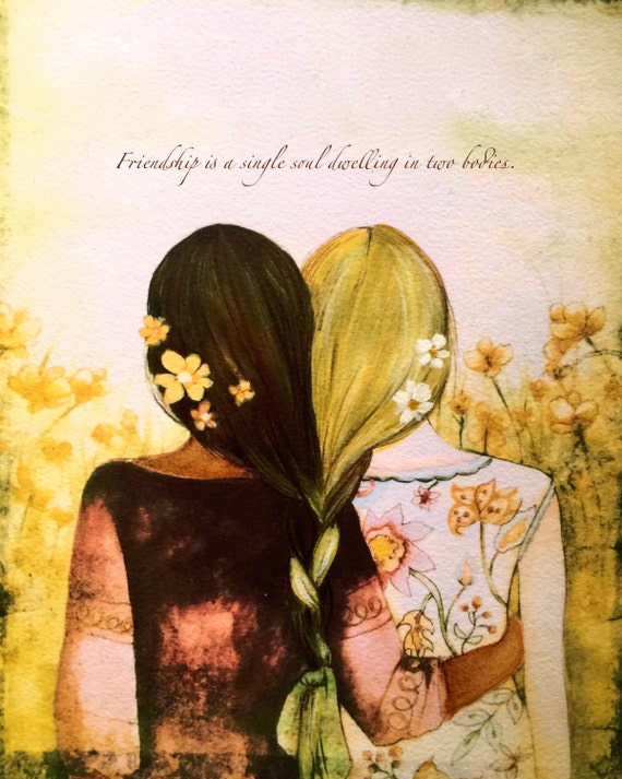 Sibling gift, Blonde and brown braided hair  sisters best friends art print( brown skin)