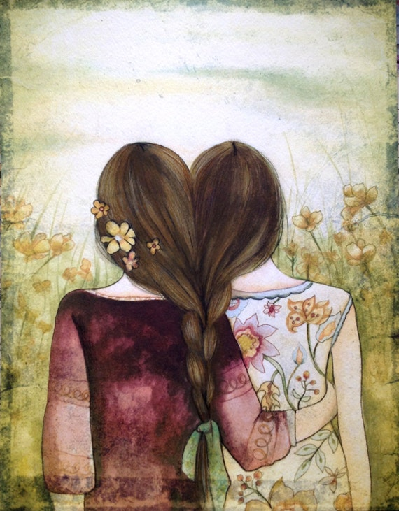 Two  sisters best friends  with brown hair art print