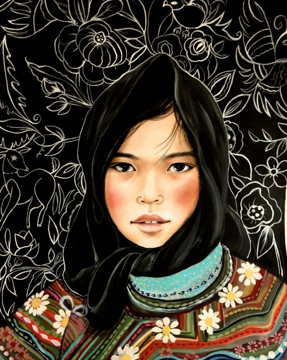 Girl from Vietnam Hmong people art print 8 x 10  or more inches