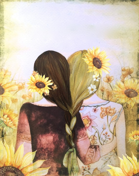 Art print sisters best friends  gift idea  with  blonde  braided hair and sunflowers