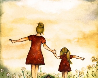 """Blonde Mother and daughter """"our path"""" art print"""