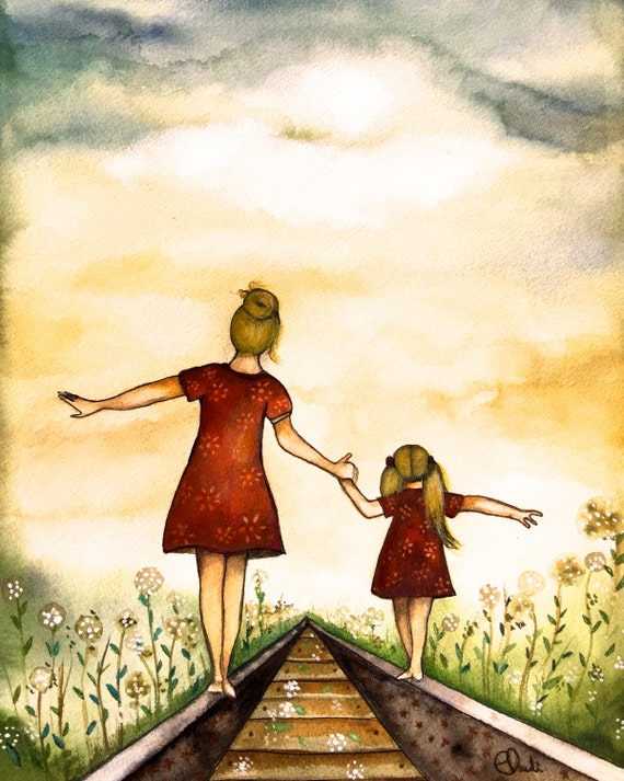 "gift for mom, wall art decor, love, artwork, gift for  daughter, Blonde Mother and daughter ""our path"" art print"