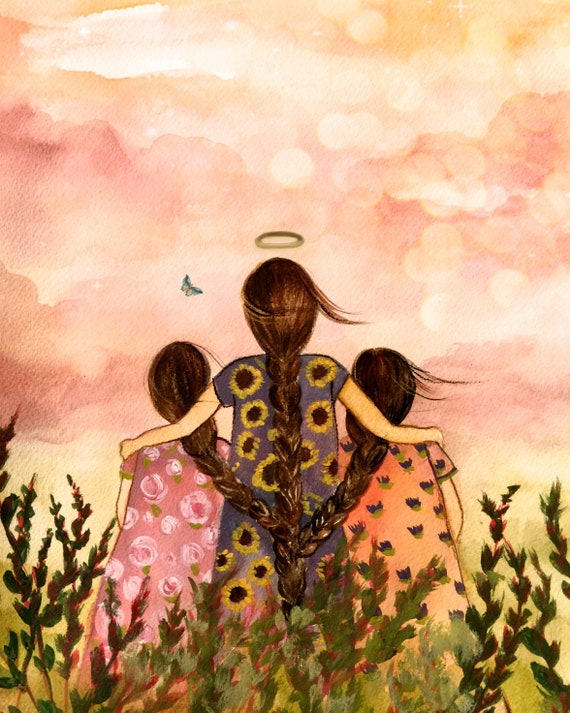 gift for mom, wall art decor, love, artwork, gift for  daughter, Mother or sister with two sisters/daughters halo and butterfly