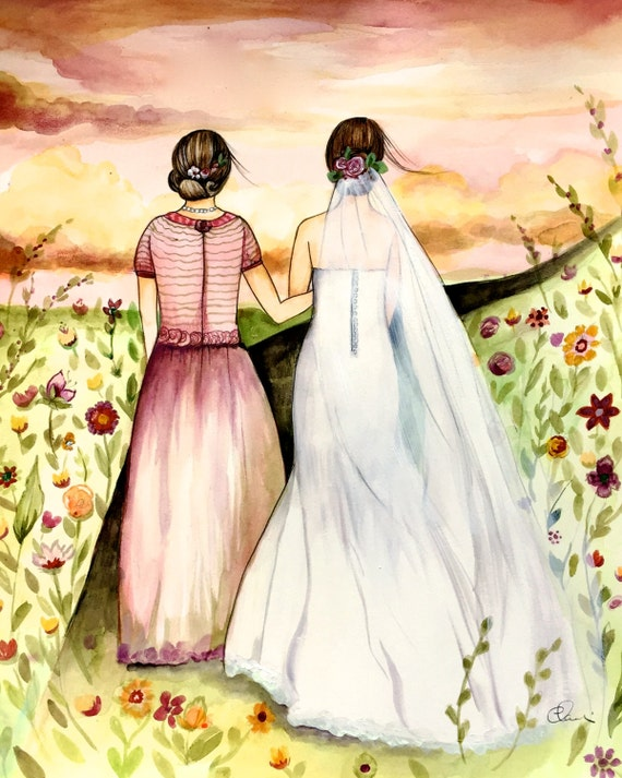 Mother and daughter wedding day art print