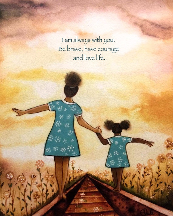 "Mother and daughter ""our path"" art print, gift idea mother's day african American"