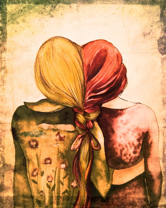 Art print sisters best friends  gift idea  with red and blonde hair