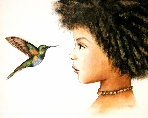 female empowerment, art print ,woman artwork,  portrait artwork ,claudia tremblay hummingbird, the visit art print child nursery decor
