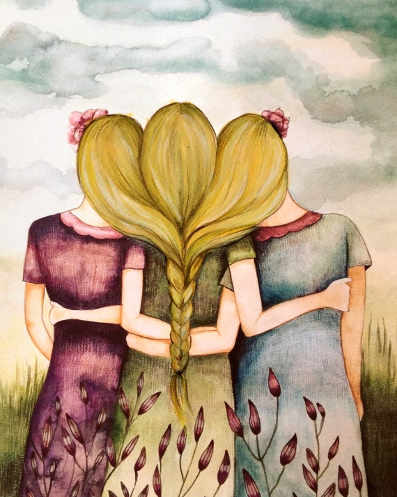 Three blonde hair sisters best friends art print