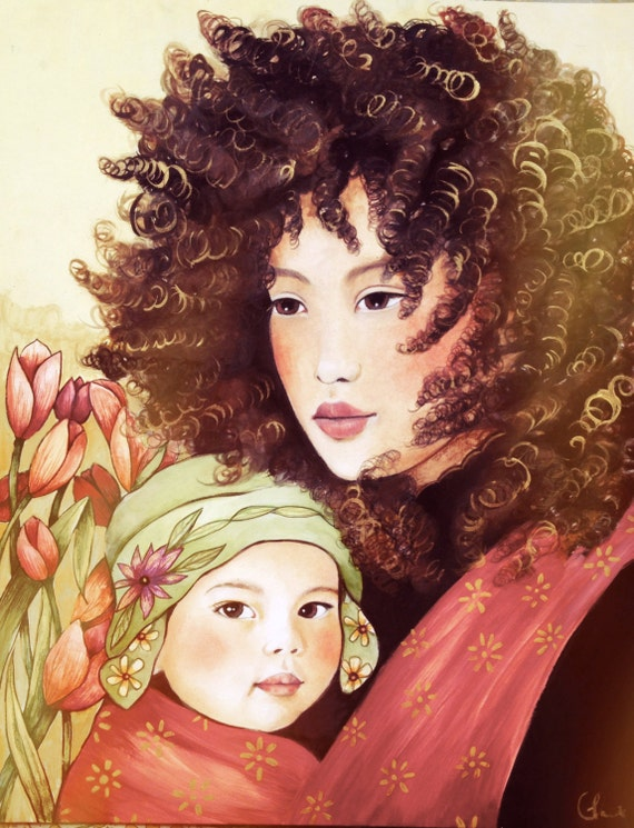Mother and child windy day art print