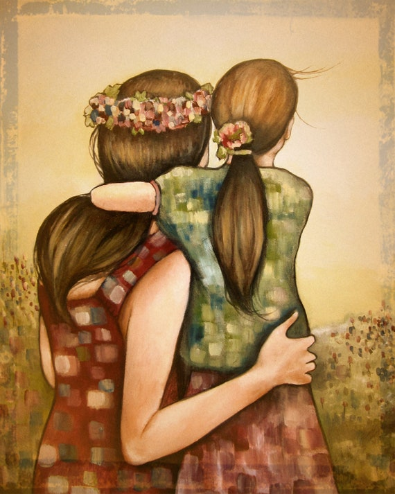 Mother and daughter-best friends  with crown flower art print
