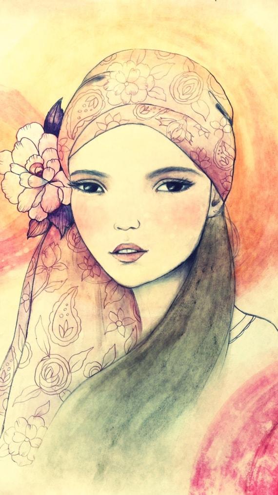 Girl with pink bandana art print