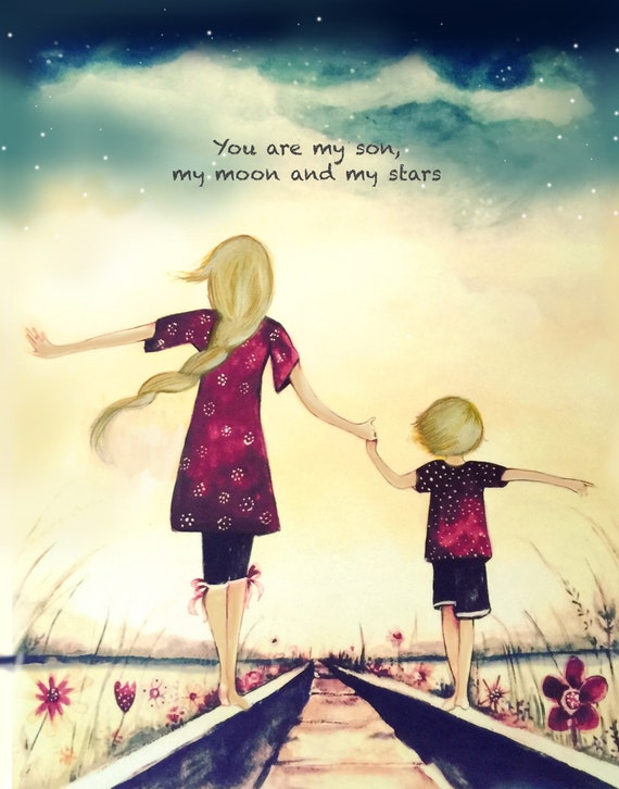 "gift for mom, wall art decor, love, artwork, gift for  daughter, Mother and son blonde, ""You are my son, my moon, and my stars"""