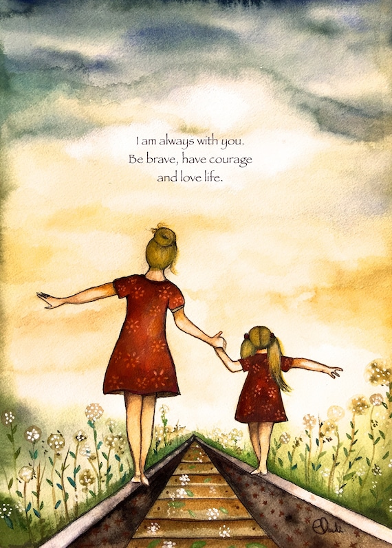 "gift for mom, wall art decor, love, artwork, gift for  daughter, Blonde Mother and daughter ""our path"" art print with quote"