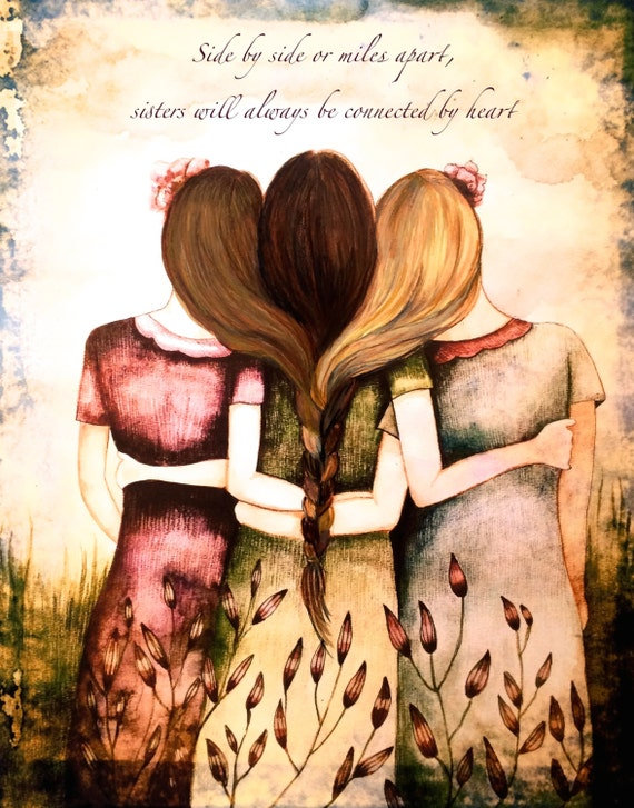 Siblings gift, side by side or miles apart, sisters will always be connected by heart